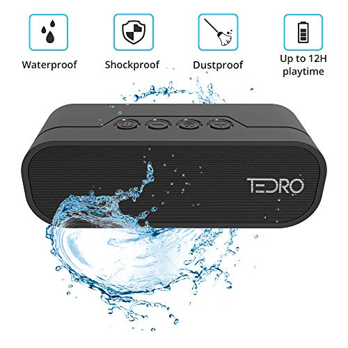 TEDRO, Waterproof Portable Bluetooth Speaker, 20w True Stereo L/R Speaker