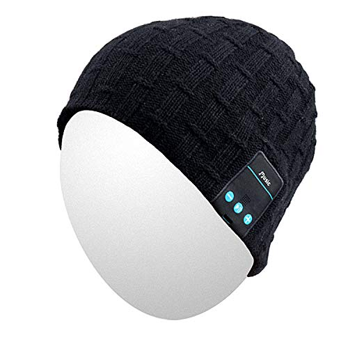 Qshell Washable Bluetooth Beanie Warm Soft Winter Knitted Trendy Short Skully Hat Cap with Wireless Headphone Headset Earphone Mic Hands Free for Excrise Gym Sports Fitness Running Skiing - Black