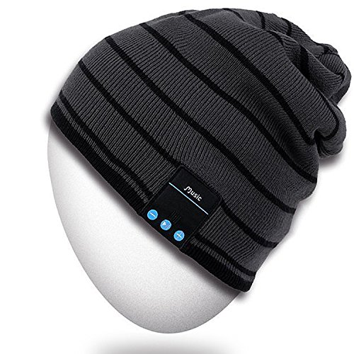 Rotibox Bluetooth Beanie Hat Unisex Winter Cap with Wireless Stereo Headphone Earphone Speaker Mic Hands Free Compatible with iPhone Samsung Android for Outdoor Sport Skiing Snowboard